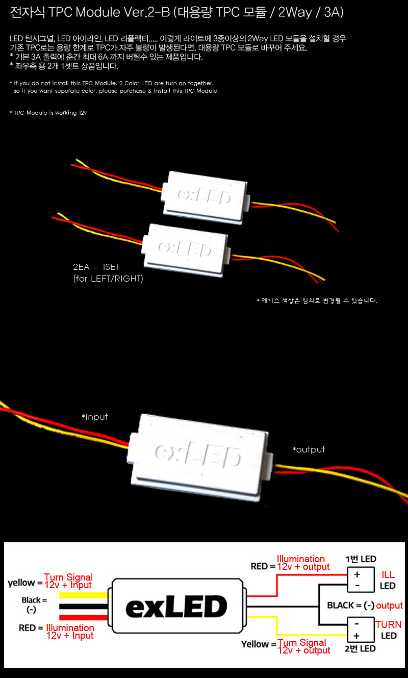 exLED 대용량 전자식 TPC 모듈 Ver.2-B (2Color용 / 최대 3A / 좌우2개 1셋트)