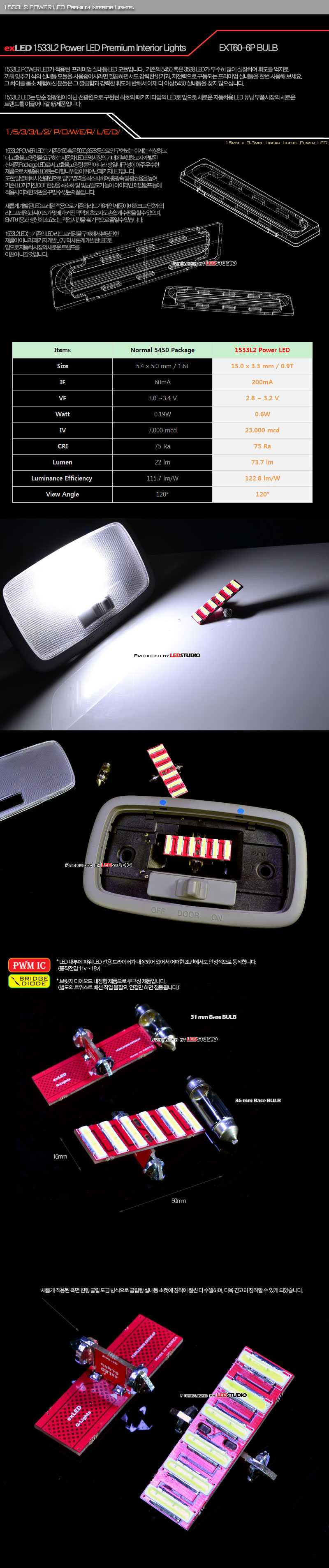 exLED 1533L2파워LED Q-LIGHTS 공용 벌브 확장형 31mm/36mm 6P (무저항 IC 내장형/무극성) (1개)