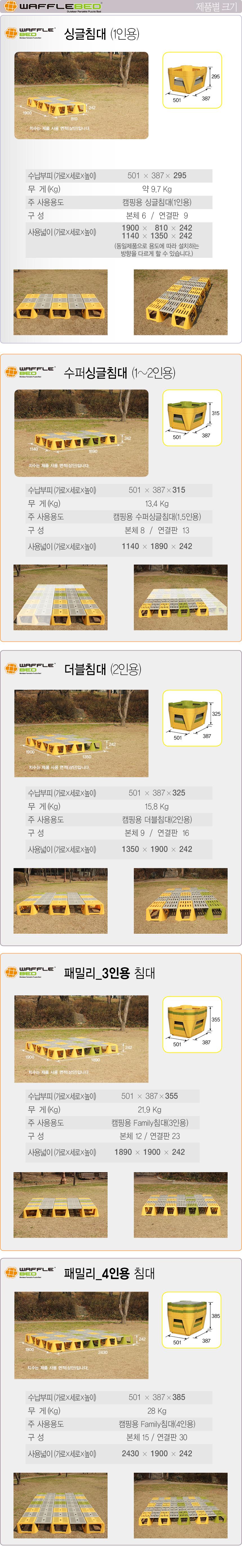와플베드/퍼즐평상/캠핑용침대/캠핑용 간이침대 (4인용)