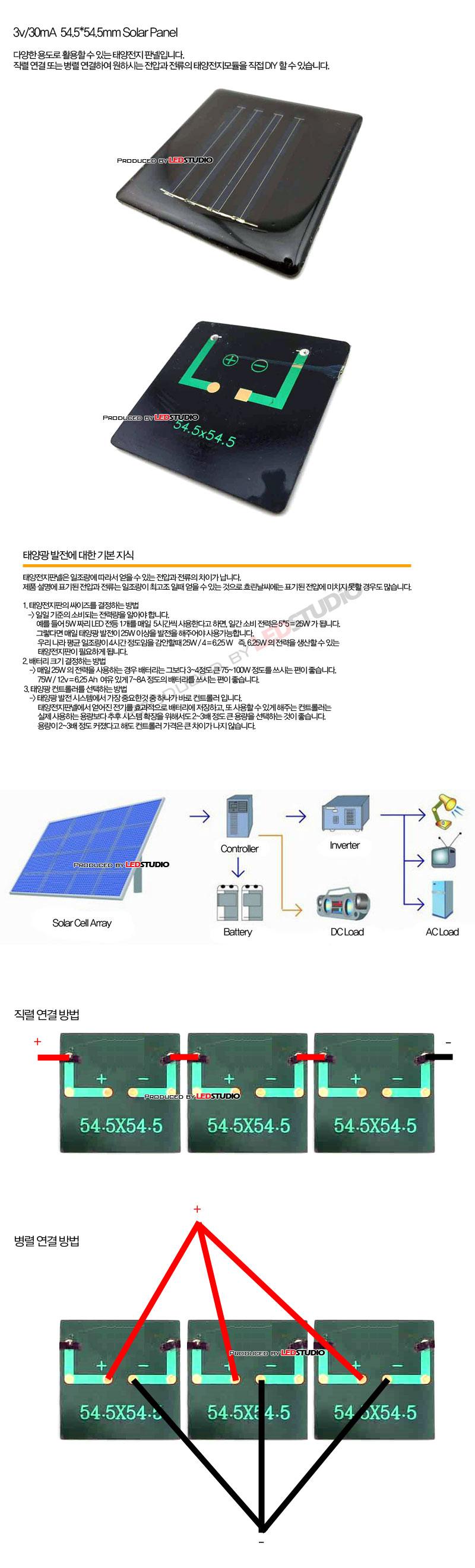 DIY용 태양전지판넬 - 3v 30mA  54.5x54.5mm