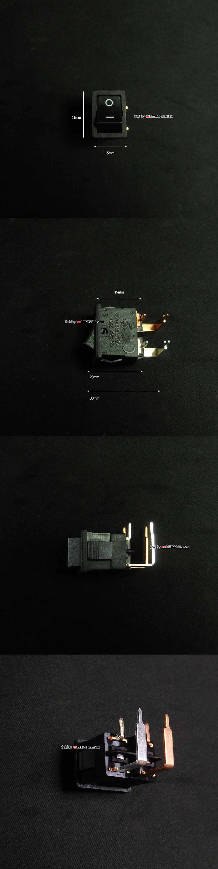 15x21mm 사각 락커 스위치 (PCB용 블랙 2전원용)
