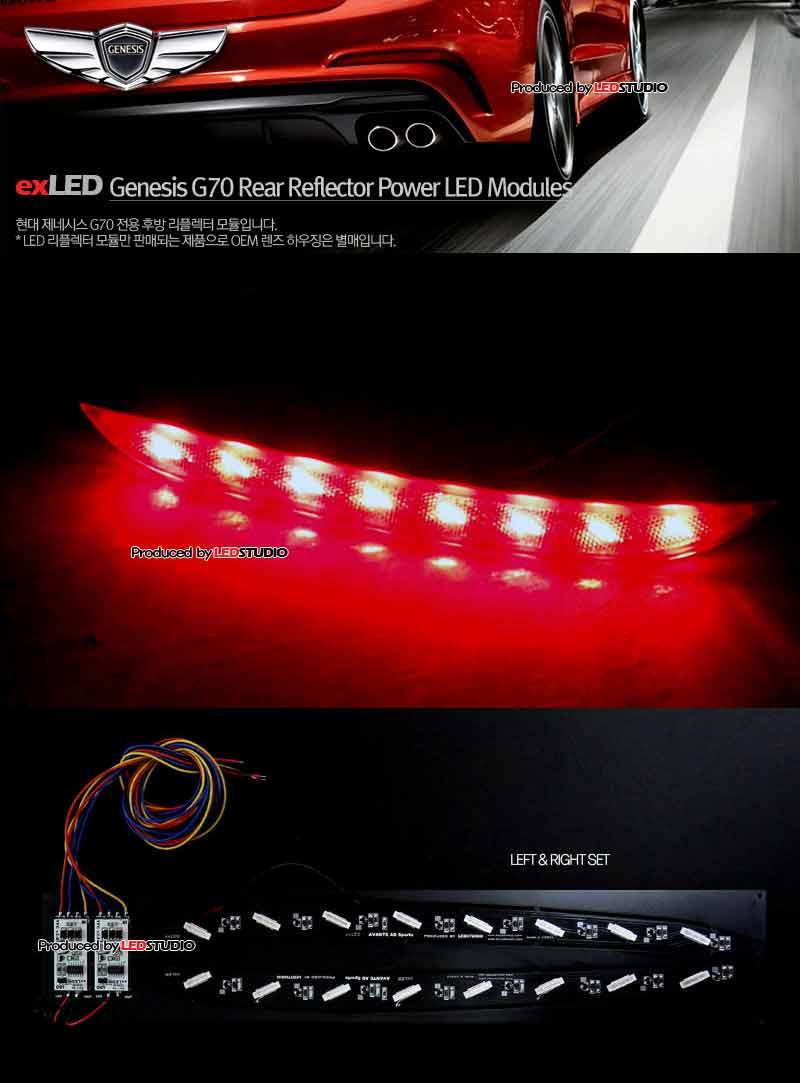 exLED 제네시스 G70 용 1533L2파워LED 후방 리플렉터 2/3Way 모듈 (시퀀셜 턴시그널 옵션 선택가능)