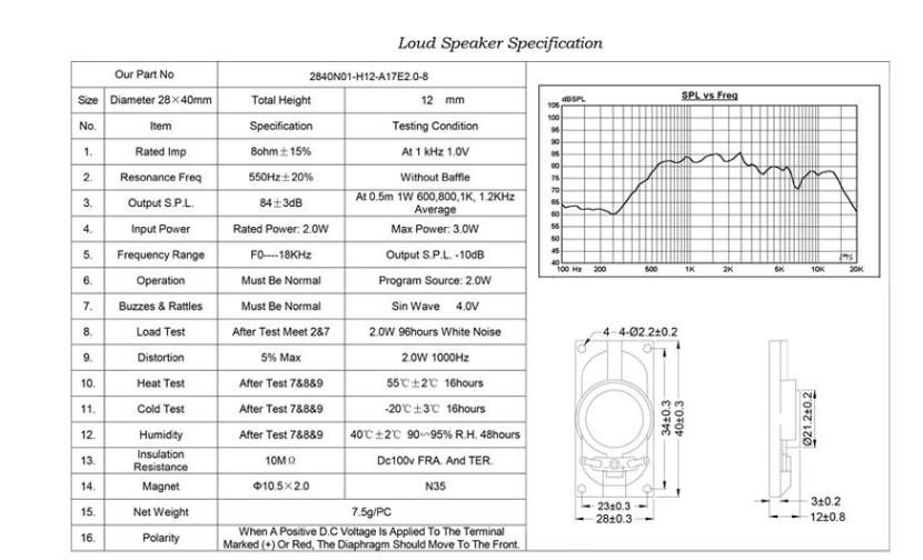 LCD DIY용 8Ω(8옴) 2W 다이나믹 우퍼콘지 고출력 스피커 40x28mm